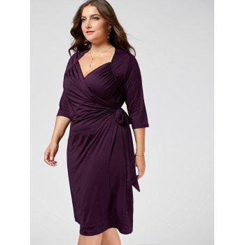 Plus Size A Line Wrap Dress - PURPLE 2XL