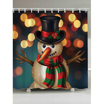Waterproof Christmas Snowman Printed Shower Curtain