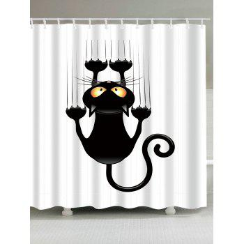 Cartoon Naughty Cat Printed Waterproof Shower Curtain