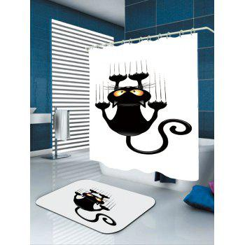 Cartoon Naughty Cat Printed Waterproof Shower Curtain - WHITE/BLACK W71 INCH * L79 INCH