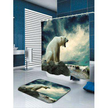 Polar Bear Printed Showerproof Bathroom Curtain - COLORMIX W71 INCH * L79 INCH