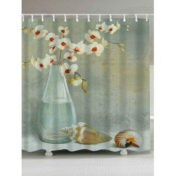 Floral Shell Printed Waterproof Shower Curtain