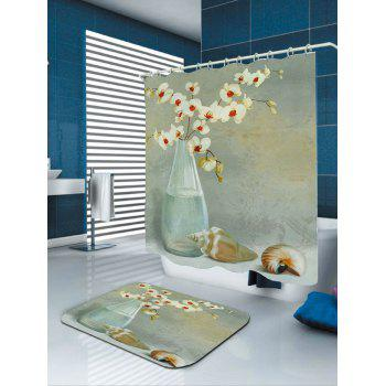 Floral Shell Printed Waterproof Shower Curtain - COLORMIX W71 INCH * L79 INCH