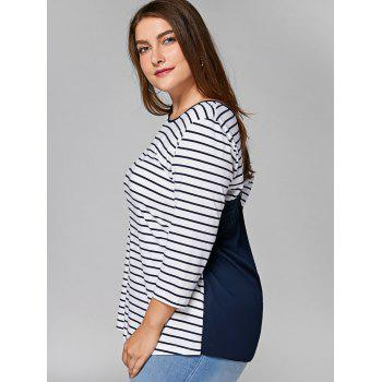 Plus Size Lace Panel Cut Out Striped T-shirt - STRIPE XL