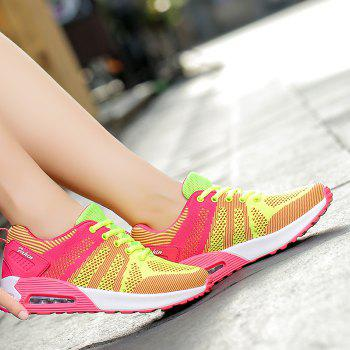 Color Block Air Cushion Breathable Athletic Shoes - FLUORESCENT YELLOW 38