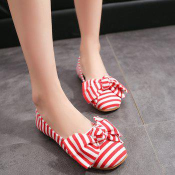 Striped Bow Round Toe Flat Shoes - 39 39