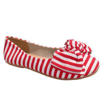 Striped Bow Round Toe Flat Shoes - RED AND WHITE 37