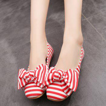 Striped Bow Round Toe Flat Shoes - RED/WHITE 38