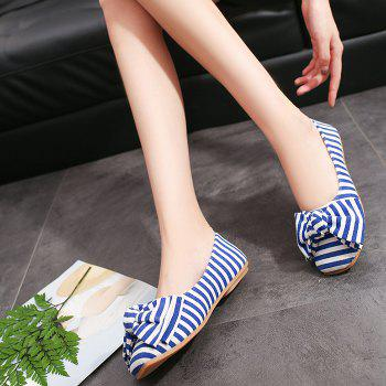 Striped Bow Round Toe Flat Shoes - BLUE/WHITE 39