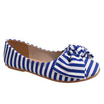 Striped Bow Round Toe Flat Shoes - BLUE AND WHITE 37