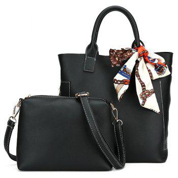 PU Leather Tote Bag Set with Scarf - BLACK BLACK