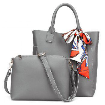 PU Leather Tote Bag Set with Scarf - GRAY GRAY