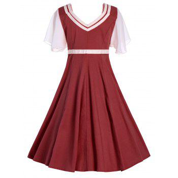 Button Flared Short Sleeve 50s Swing Dress - CLARET S