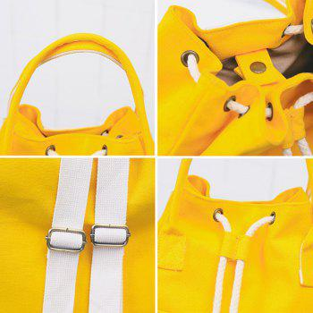 Drawstring Top Handle Canvas Backpack - YELLOW
