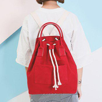 Drawstring Top Handle Canvas Backpack - RED