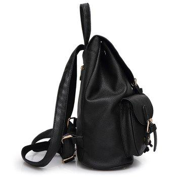 Buckles PU Leather Backpack - BLACK