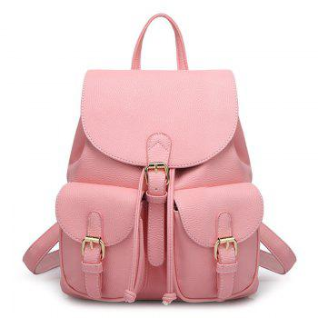Buckles PU Leather Backpack