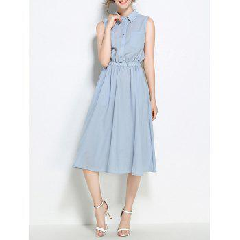 Half Buttons Elastic Wasited Sleeveless Shirt Dress