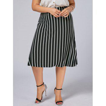 Plus Size A Line Stripe Skirt - BLACK BLACK