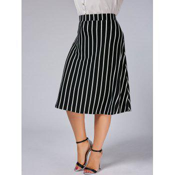 Plus Size A Line Stripe Skirt - BLACK 6XL