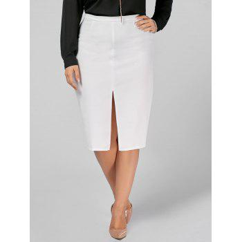 Plus Size Front Slit Zip Up Pencil Skirt - 3XL 3XL