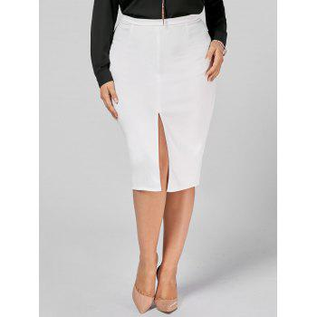 Plus Size Front Slit Zip Up Pencil Skirt - WHITE 3XL