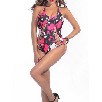 Floral Halter Strappy One Piece Swimsuit - Floral L