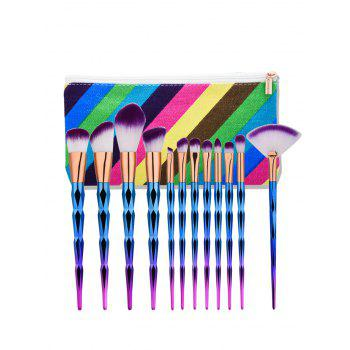 Diamond Shape Makeup Brushes Set With Stripes Bag