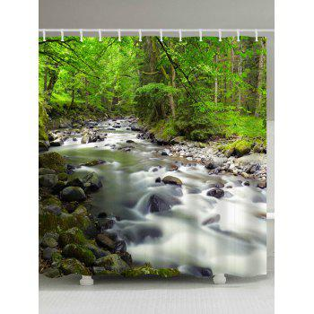 Forest Creek Print Waterproof Fabric Shower Curtain