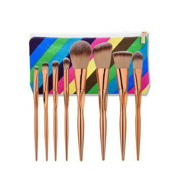 Tapered Concave Makeup Brushes Set With Stripes Bag