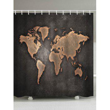 Seven Continents Map Waterproof Shower Curtain