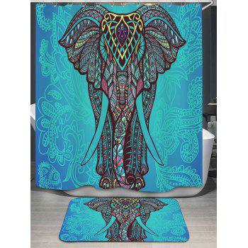 Bohemian Elephant Print Shower Curtain and Rug