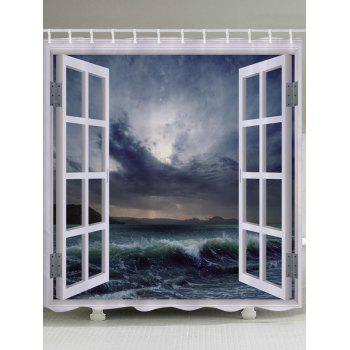 Window Ocean Wave Print Fabric Bathroom Shower Curtain