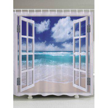 Window Beach Wave Print Fabric Bathroom Shower Curtain