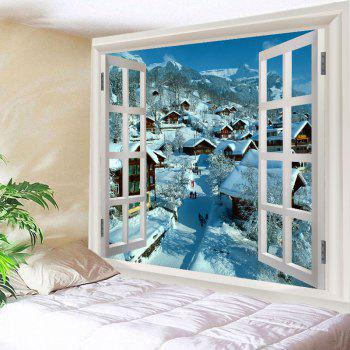 17 Off 2019 Window Snow Village Print Tapestry Wall