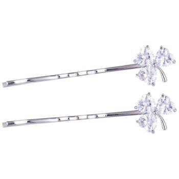 1 Pair Clover Rhinestone Embellished Hairpins - SILVER SILVER