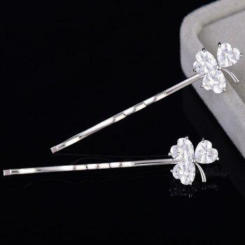 1 paire de trèfle strass Embellished Hairpins - Argent