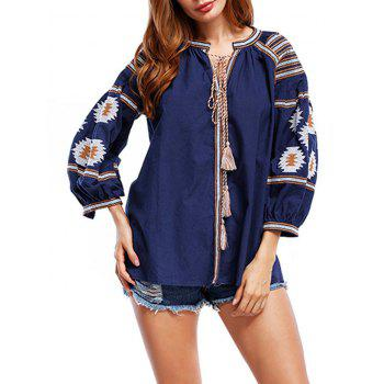 Floral Embroidered Tunic Blouse