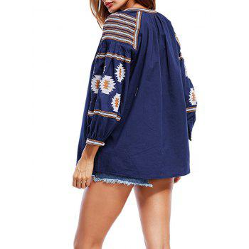 Floral Embroidered Tassels Tunic Blouse - CADETBLUE L