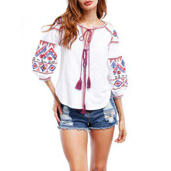 Embroidered Tassels Puff Sleeve Blouse