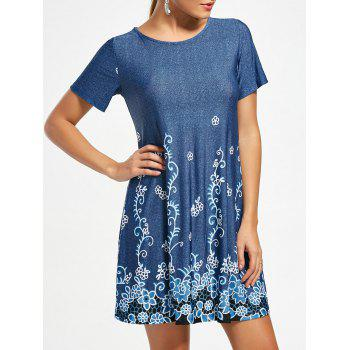 Short Sleeve Flower Print T-shirt Dress
