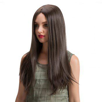 Long Middle Parting Straight Synthetic Wig - BROWN 56CM