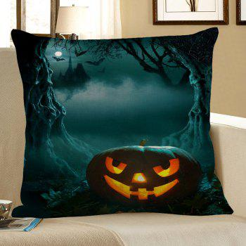 Pumpkin Cave Pattern Halloween Pillow Case - DEEP GREEN DEEP GREEN