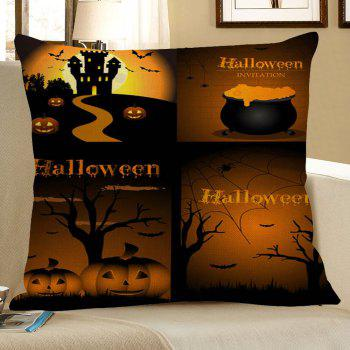Halloween Pumpkin Bat Printed Square Pillowcase - COLORMIX W18 INCH * L18 INCH
