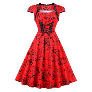 Vintage Lace Up Floral Print Pinup Dress