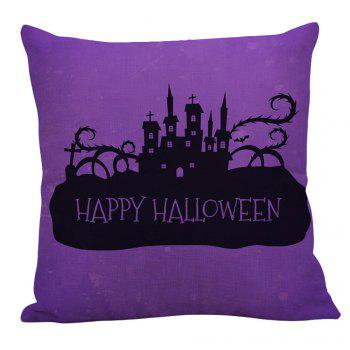 Castles Halloween Printed Square Pillowcase - BLACK/PURPLE W18 INCH * L18 INCH