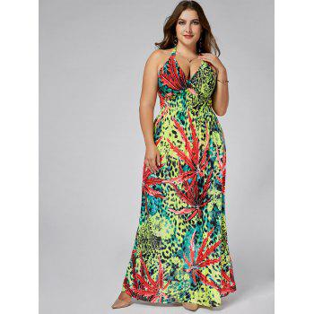 Leopard Plus  Size Halter Plunging Neck Maxi Dress - FLORAL FLORAL