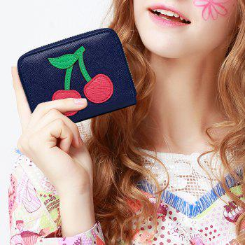 Cherry Pattern Faux Leather Small Wallet - NAVY BLUE