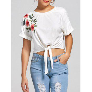 Batwing Sleeves Front Lace Up Cropped Top - WHITE S