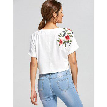 Batwing Sleeves Front Lace Up Cropped Top - WHITE M